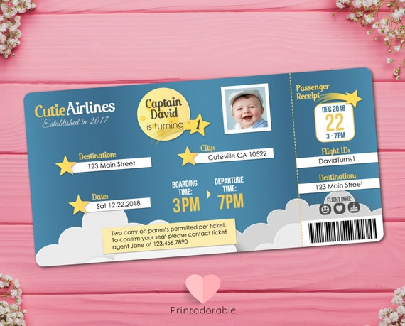 Cute Flight Ticket, Space Airline Ticket Birthday Invitation, Star Travel Invite, Baby Flight Ticket, Cute Boarding Pass Invite