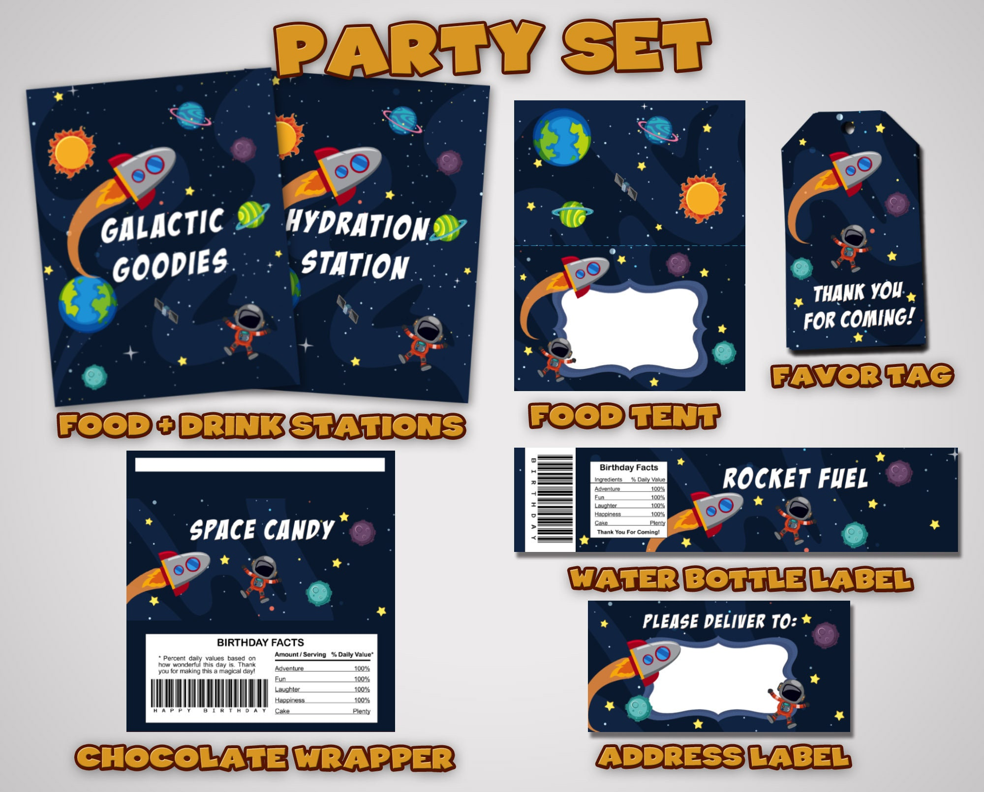 c11f302294dbc Space Party Set • Space Party Kit • Astronomy Party Kit • Astronaut ...