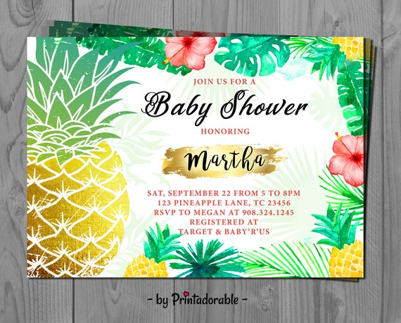 Tropical Pineapple Invite - Tropical Invitation -  Topical Baby Shower - Pineapple gold Invitation - Pineapple Baby Shower - Tropical invite