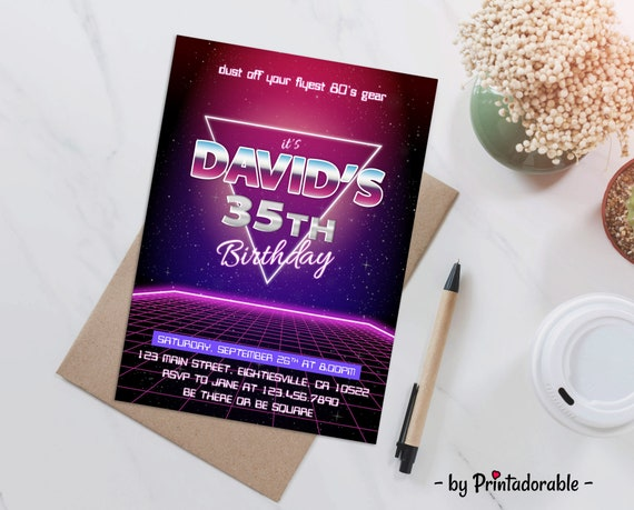 80s Invite, 80s party, 80s Invitation, 80s Birthday, Futuristic Invite, Retro Invite, 80's Invitation, 80's invite, Throwback Party, 1980s