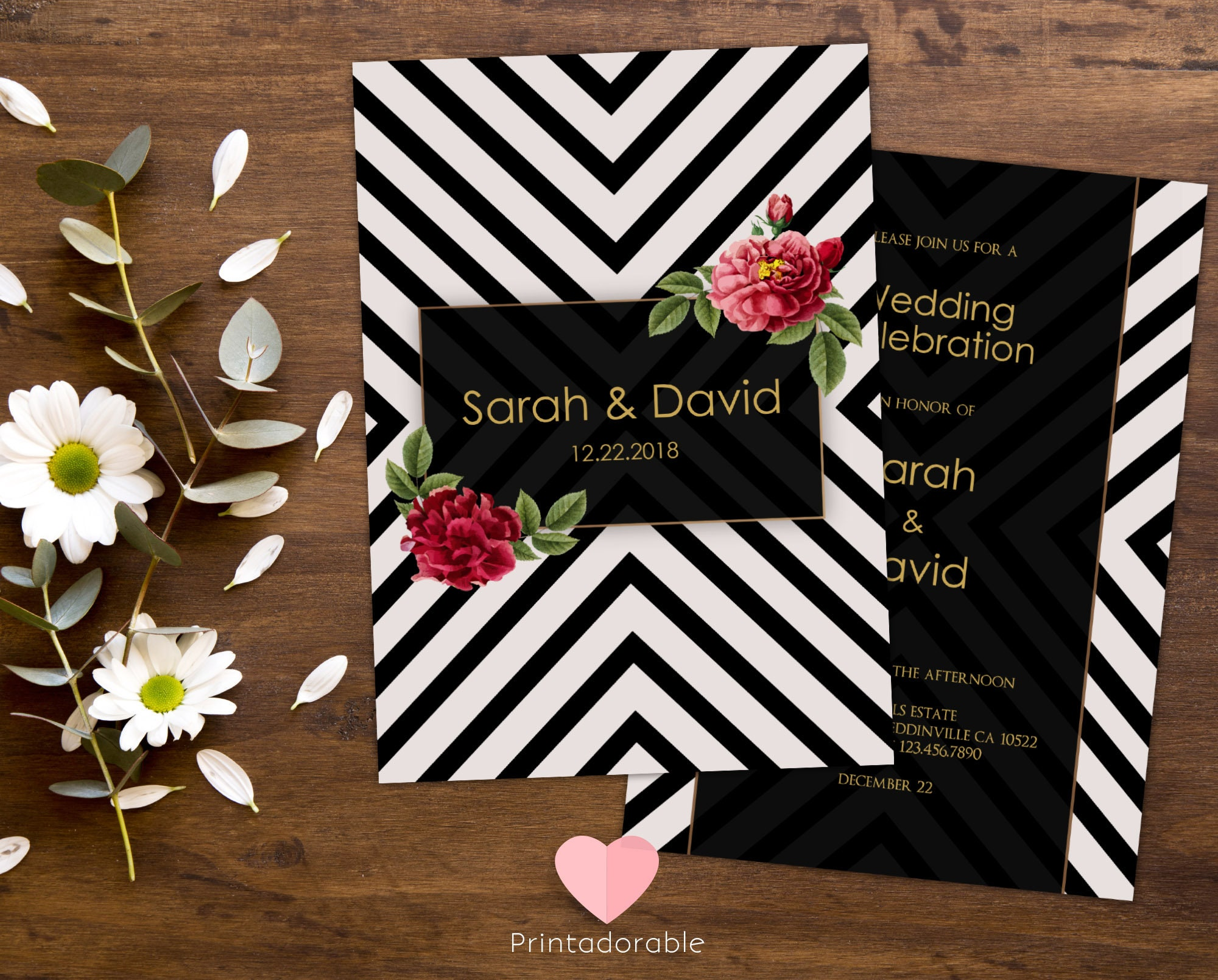 modern chic wedding invitation marriage invite black white invite