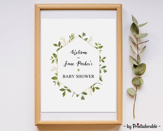 Greenery Baby Shower - Greenery Welcome - Welcome Sign - Leaves Baby Shower - Watercolor Sign - Welcome Baby Shower - Welcome Sign Shower