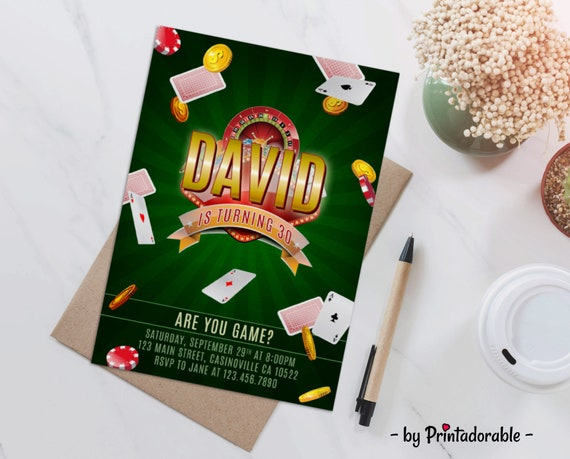 Casino Invite, Casino Invitation, Poker Invite, Poker Invitation, Jackpot Invite, Casino Party, Casino Birthday, Las Vegas Invite