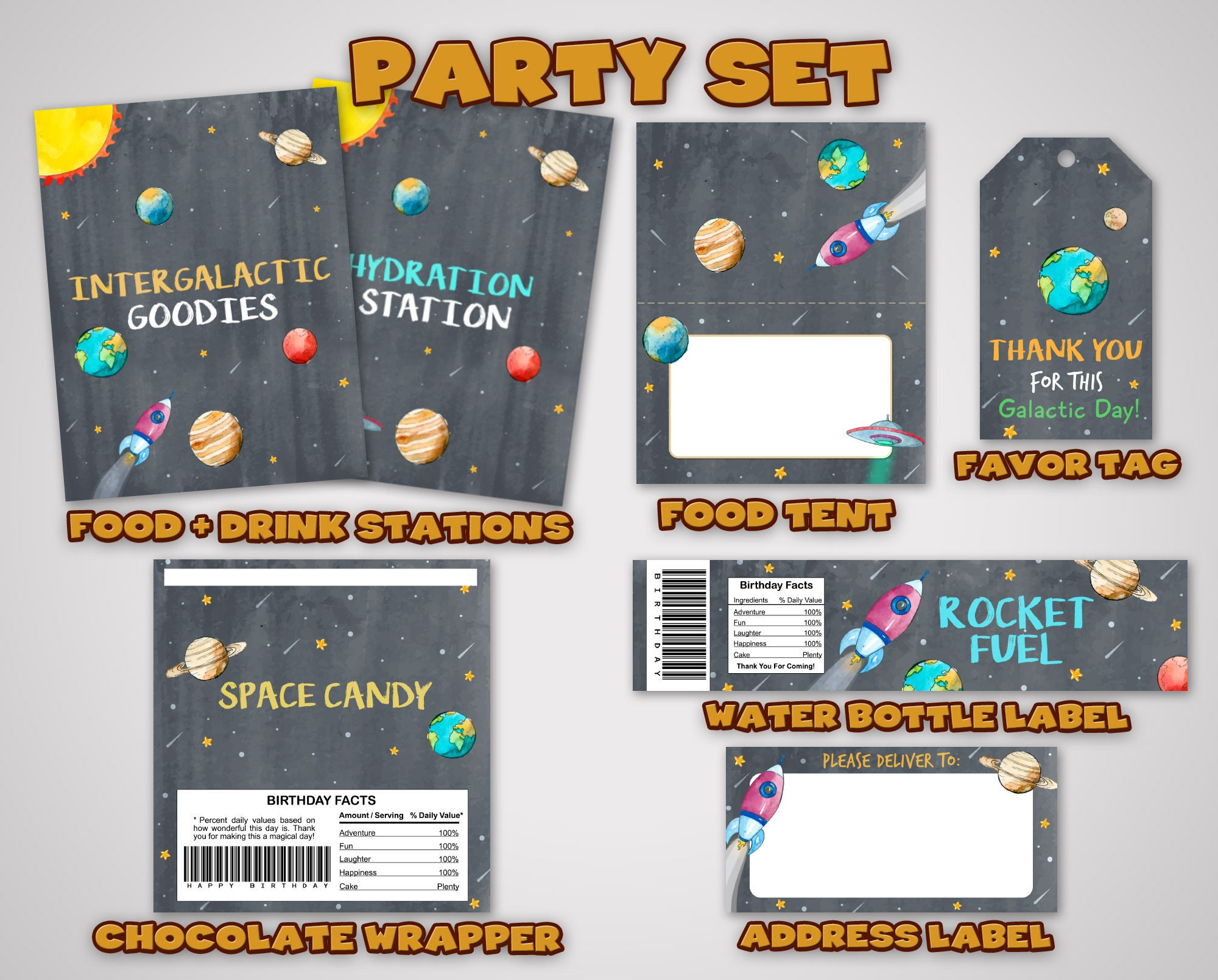 d4683606bf422 Watercolor Space Party Set • Watercolor Space Party Kit • Spacial ...