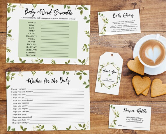 Greenery Baby Shower, Greenery Shower Set, Baby Shower Set, Baby Word Scramble, Wishes for the Baby, Diaper Raffle, Book Card, Favor Tag