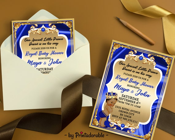 Royal Baby Shower Invitation - Blue Gold White Invite - Royal Blue invite - Baby Shower Royal  - Prince Invitation - Royal Vintage invite