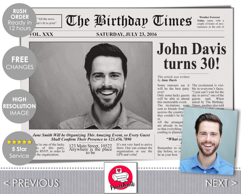 newspaper invitation newspaper invite newspaper cover newspaper newspaper template newspaper birthday journal invite journal