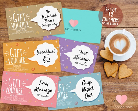 Romantic Coupons, Romantic Voucher, Love Coupon, Love Voucher, Gift for Him, Romance Coupon, for boyriend, inexpensive gift, voucher for him