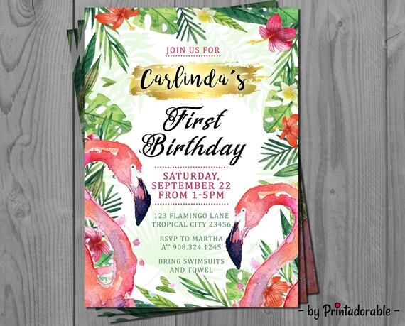 Flamingo Invite - Tropical Invite - Flamingo Invitation - Flamingo Birthday - Flamingo Party - Tropical Invitation - Flamingo Tropical
