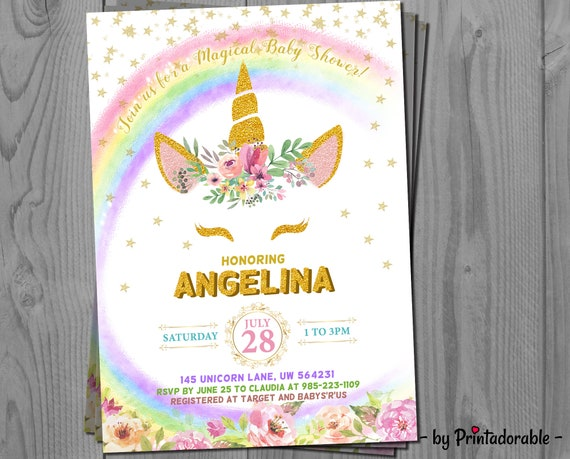Unicorn Invitation - Unicorn Rainbow - Glitter Unicorn - Unicorn Invite - Unicorn - Rainbow Invitation - Unicorn Baby Shower - Rainbow