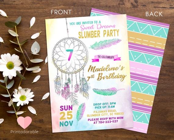 Dreamcatcher Invite - Slumber party Invite - Boho Invitation - Tribal Invitation  - Watercolor Invite - Sleepover Invitation - Girl Invite
