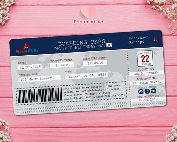 Plane Ticket Invite, Airline Ticket Birthday Invitation, Airplane Boarding Pass Invite, Travel Invitation, Travel Invite, Flight Ticket