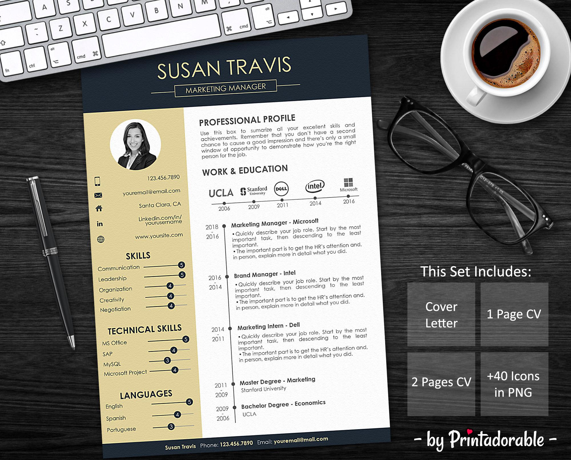 Resume Template Cv Template Professional Resume Resume Design