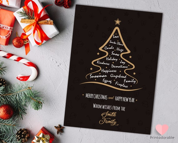 Christmas Invitation, Christmas Card, Xmas Tree Card, Xmas Invite, Xmas Invitation, Merry Christmas Card, Gold Christmas Card, Xmas Tree