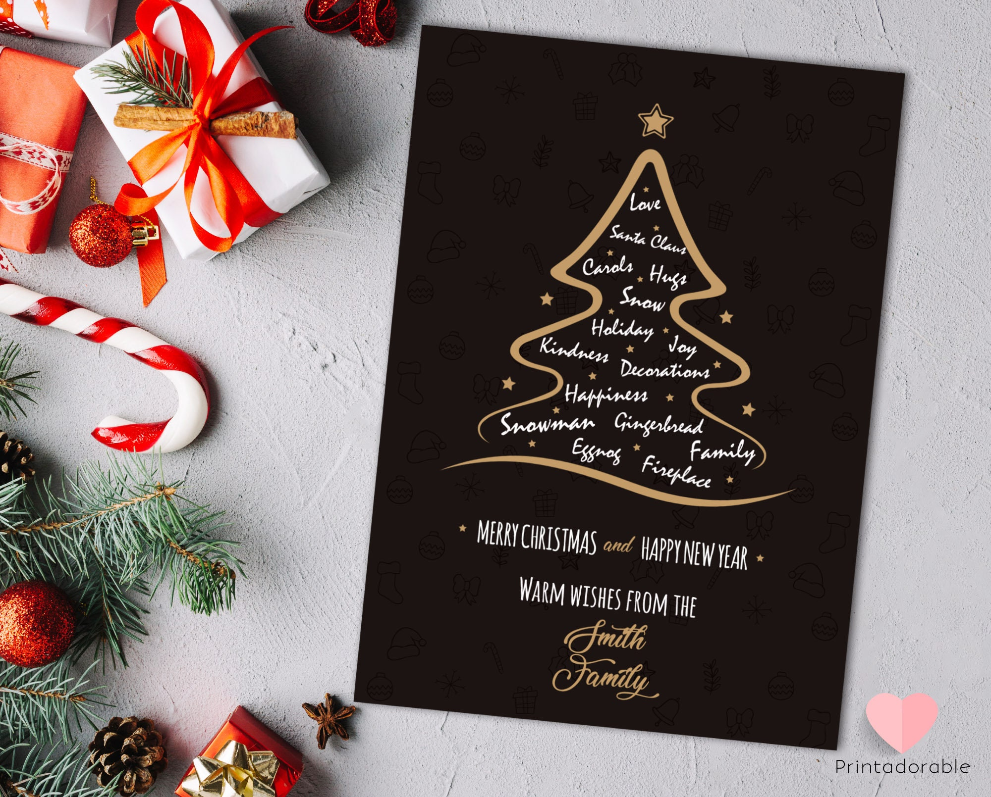 christmas invitation christmas card xmas tree card xmas etsy