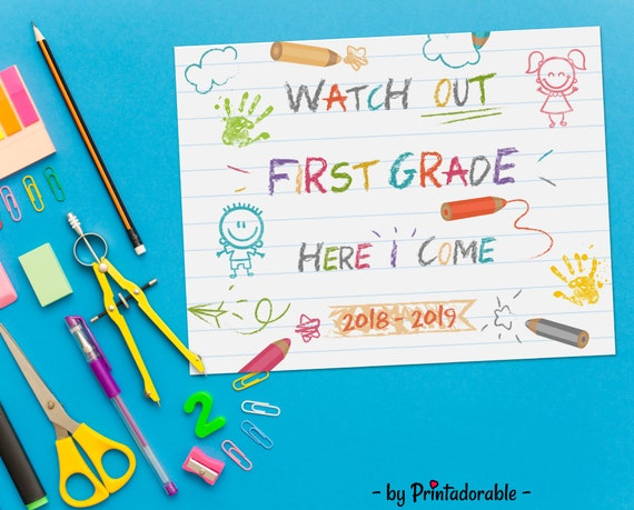 First Grade Sign, First Day of School, First Day School, First Day Sign, School Sign, Back to School, Back to School Sign, 1st Grade Sign