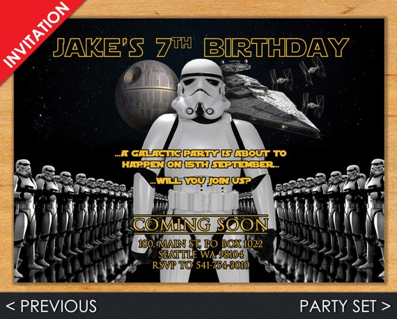 Star Wars Invitation - Star Wars Invite - Stormtrooper Invite - Stormtrooper Invitation - Star Wars - Stormtrooper - Star Wars Party Set