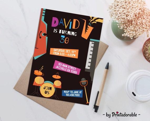 Jazz Invitation, Jazz Invite, Music Invite, Music Invitation, Song Invite, Song Invitation, Jazz Party, Jazz Printables, Jazz Birthday