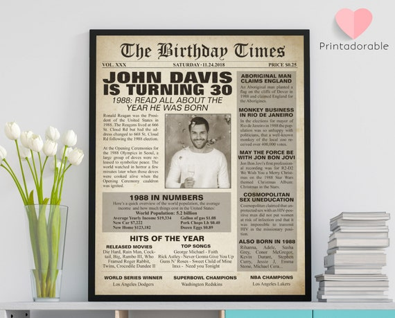 1988 Sign, 30 years sign, 30th birthday sign, The World in 1988, 1988 Poster, 1988 Newspaper, 1988 Cover, The Birthday Times, Born in 1988