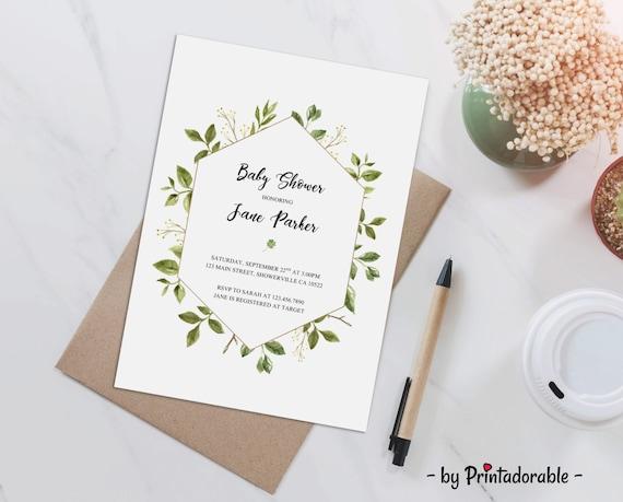Greenery Baby Shower - Baby Shower Invite - Greenery Invite - Leaves Baby Shower - Watercolor Invite - Summer Baby Shower - Leaves Invite