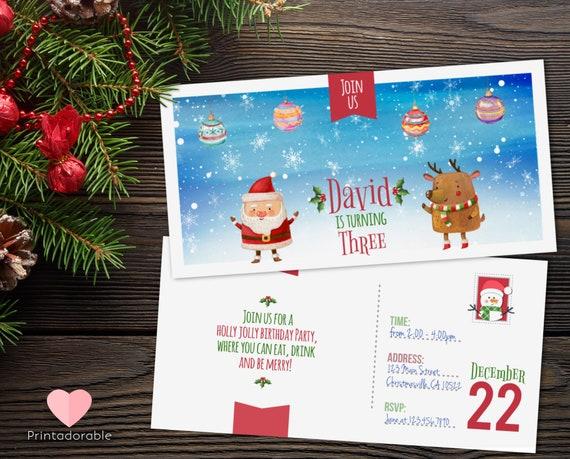 Watercolor Christmas Ticket Invitation, Christmas Ticket, Christmas Invitation, Winter Birthday, Xmas Postcard, Xmas Ticket Invite