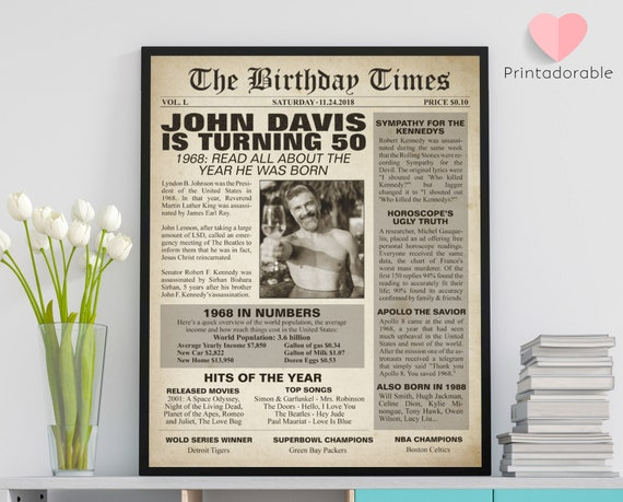 1968 Sign, 50 years sign, 50th birthday sign, The World in 1968, 1968 Poster, 1968 Newspaper, 1968 Cover, The Birthday Times, Born in 1968