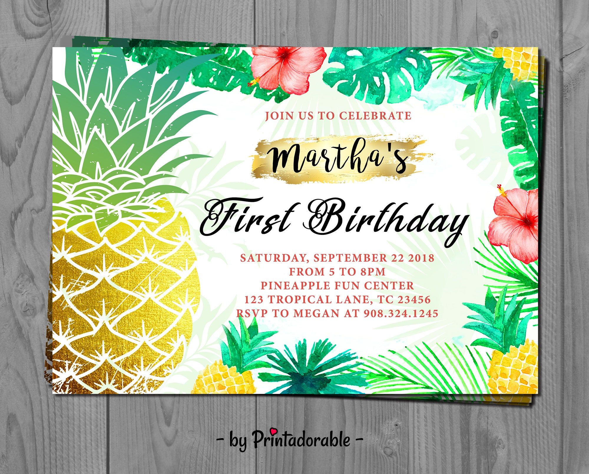 tropical pineapple invite tropical invitation topical birthday