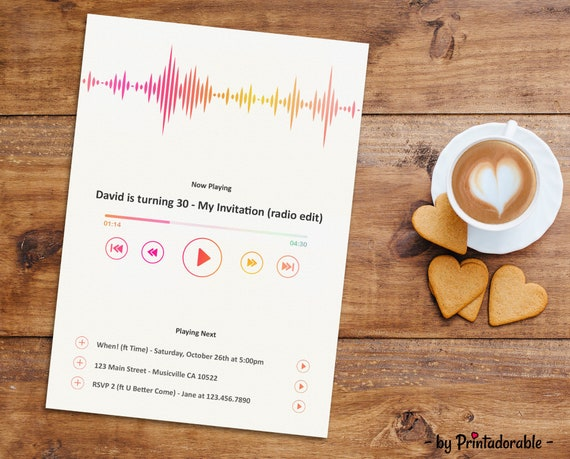 Music Invitation, Music Invite, Music Player Invite, Sound Wave Invite, Equalizer Invite, Song Invite, Song Invitation, Sound Invite