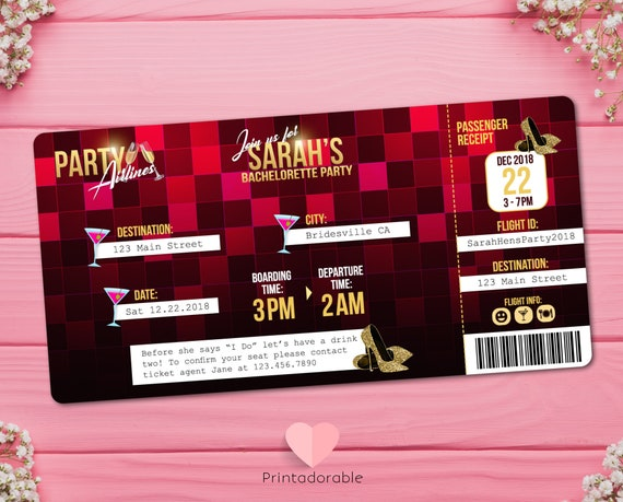 Bachelorette party Airplane Ticket Invitation  •  Hens Party Boarding Pass Invite  •  Red and Gold Flight Ticket