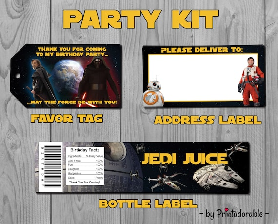Star Wars Party Set - Star Wars Party Kit - Star Wars Favor Tags - Last Jedi - Star Wars - Star Wars Label - Jedi Label - Star Wars Jedi