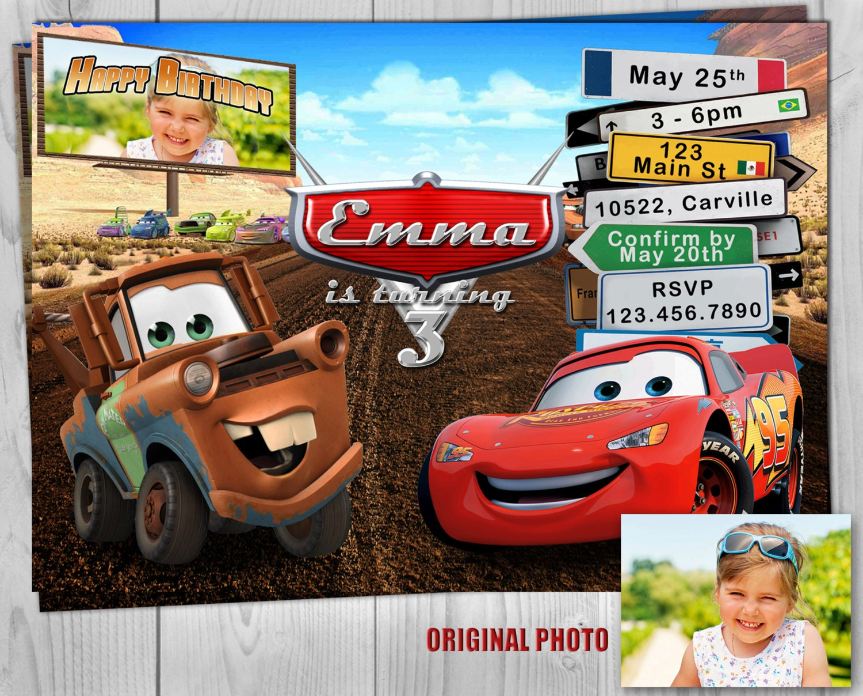 Cars Invitation - Cars Invite - Cars - Disney Cars - Cars Birthday ...
