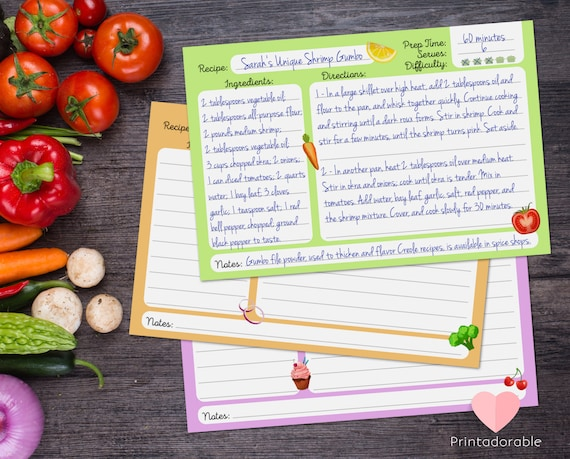 Cute Cooking Recipe Cards  •  Colorful Kitchen Cooking Cards  •  Set of 3 Recipe Cards 4x6