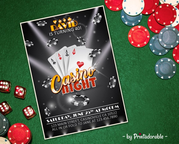 Casino Invite, Casino Invitation, Casino Night, Casino Party, Poker Invite, Poker Invitation, Casino Birthday, Las Vegas Invite