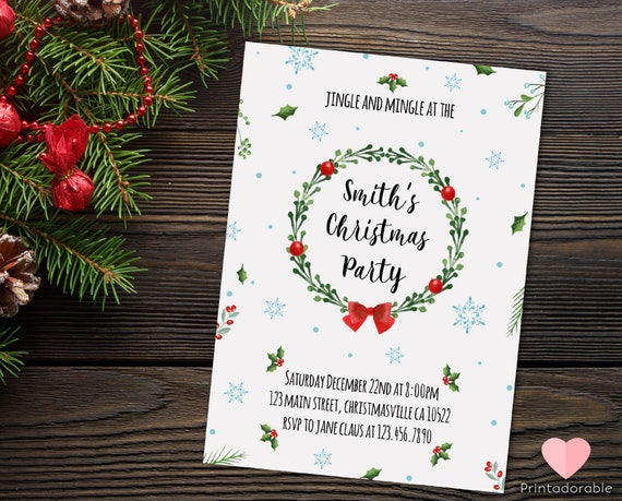 Christmas Watercolor Invitation, Xmas Watercolor Invite, Christmas Party Watercolor Invite, Xmas Party Watercolor Invitation