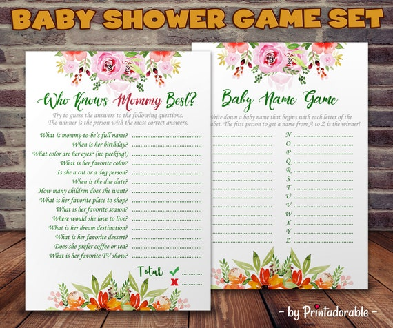 Baby Shower Game - Who Knows Mommy Best - Baby Name Game - Baby Alphabet - Baby Shower - Funny Baby Shower - Funny Baby Game - Name the Baby