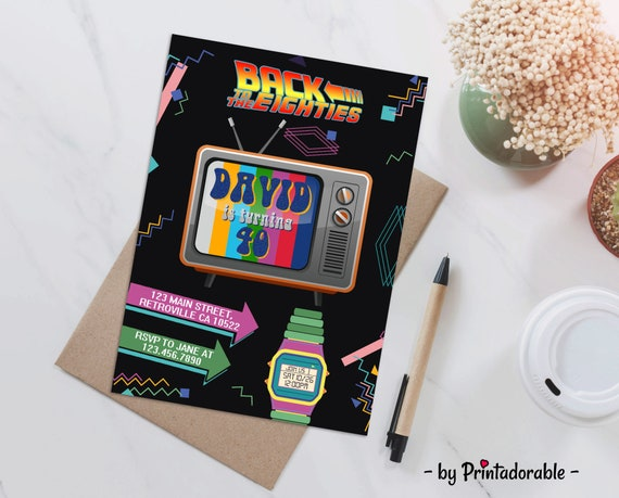 80s Invitation, 80s party, 80s Invite, Back to the 80s, 80's party, Retro Invite, 80's Invitation, 80's invite, Throwback Party, 1980s