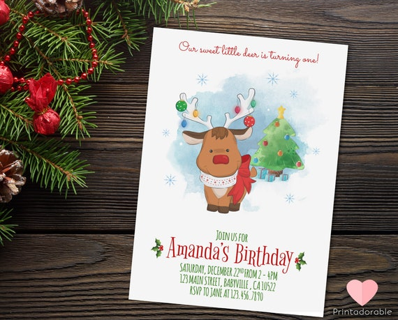 Christmas Rudolph Invite, Rudolph Birthday Invitation, Christmas Invitation, Winter Birthday, Xmas Birthday, Reindeer Invite, Deer Invite