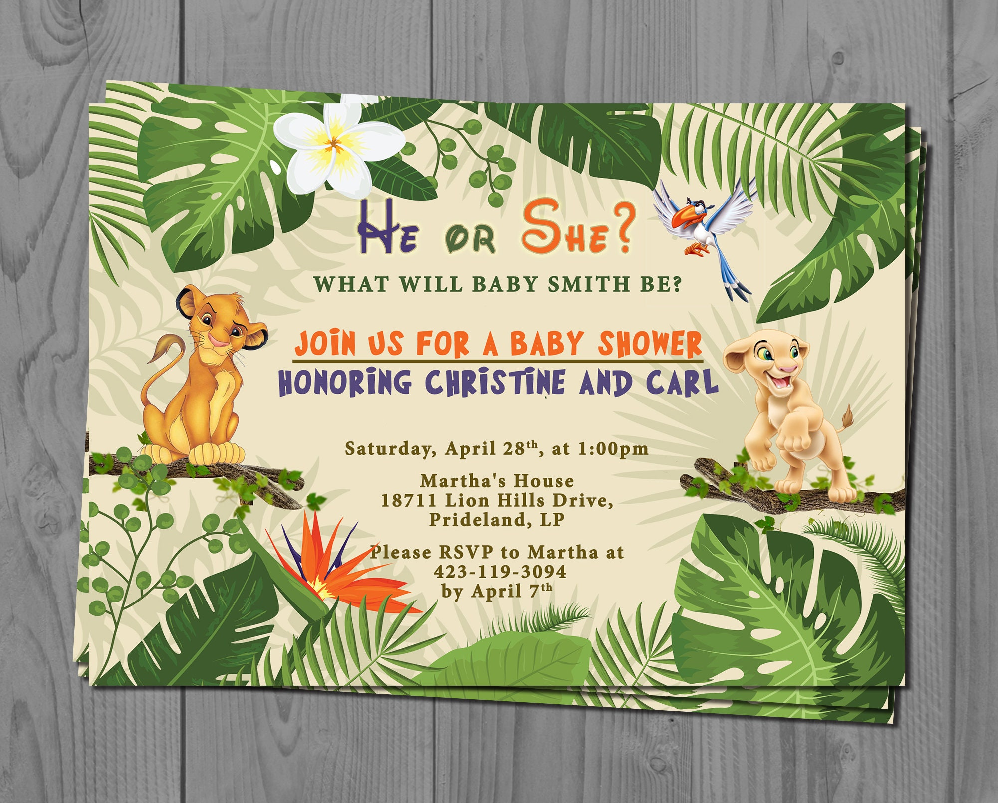 Nala And Simba Gender Reveal Invite Lion King Baby Shower