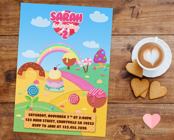 Candy Land Invite, Candy Invitation, Candy Invite, Candyland Invitation, Candyland Invite, Sweet Invite, Sweet Invitation, Candy Party