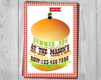 BBQ Invitation - Barbecue Invite - Summer BBQ Party - Burger Invite - Grill Invitation