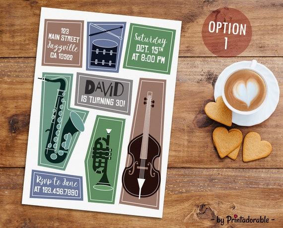 Jazz Invite, Jazz Instrument Invite, Music Invite, Music Invitation, Song Invite, Song Invitation, Jazz Party, Jazz Printable, Jazz Birthday