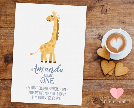 Cute and Simple Giraffe Invitation for Birthday or Baby Shower