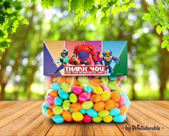 Big Hero 6 Candy Topper, Hero 6 Goodie Bag, Big Hero 6 Candy Bag, Big Hero 6 Treat Bag, Big Hero 6 Candy, Big Hero 6 Party Set