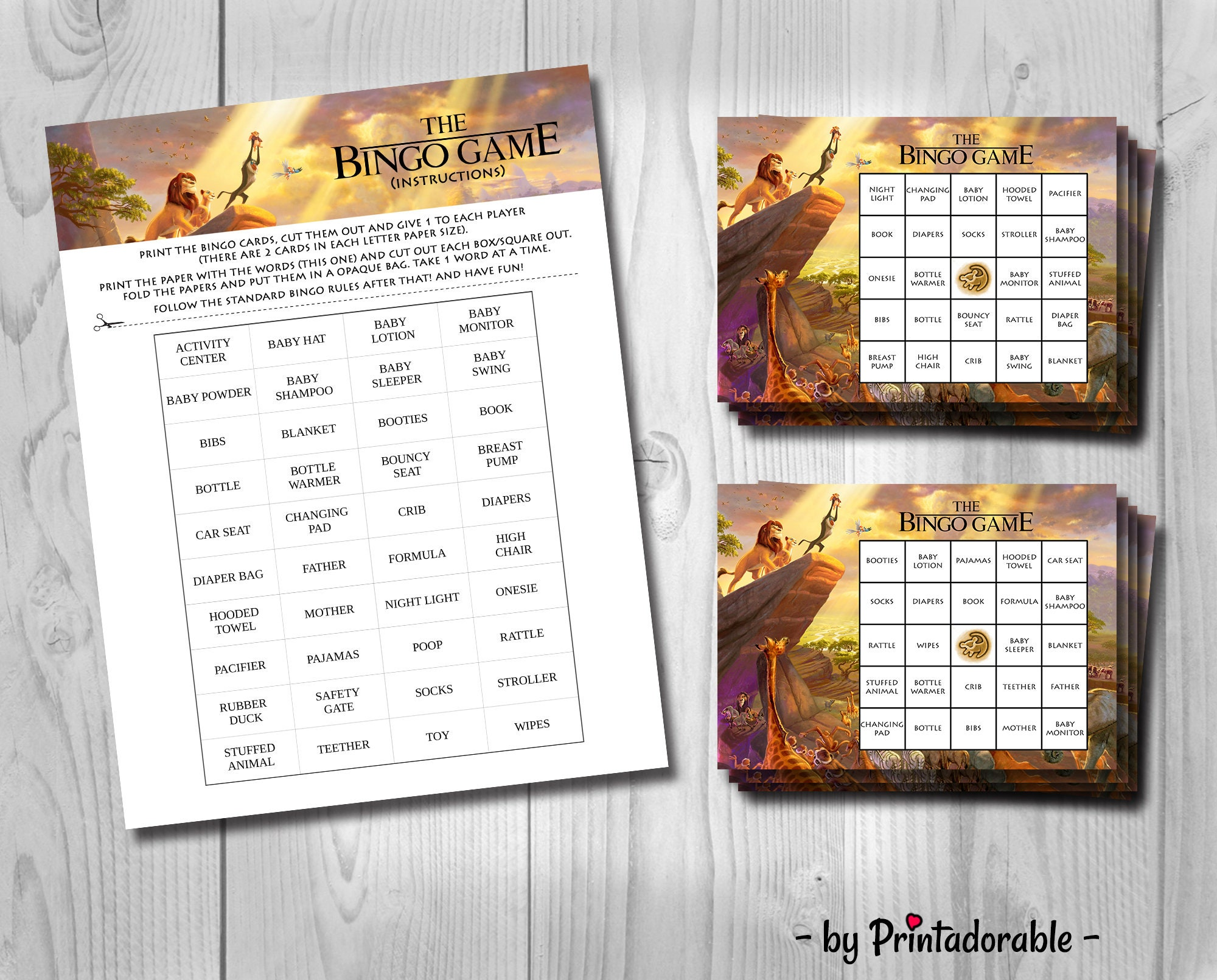 picture about Disney Bingo Printable identify Lion King Bingo - Lion King Youngster Shower - Lion King Child
