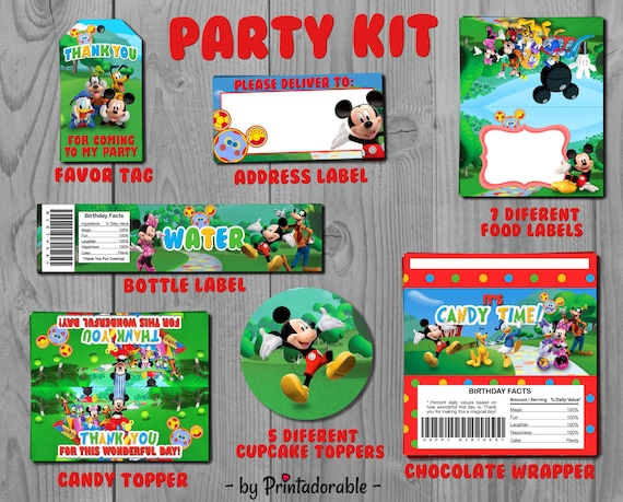 Mickey Party Set - Mickey Party Kit - Mickey Favor Tags - Mickey Label - Disney Party Kit - Disney Party Set - Minnie Party Set - Mickey Kit