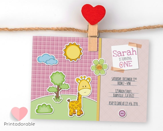Lovely Pink Giraffe Invitation for Birthday or Baby Shower