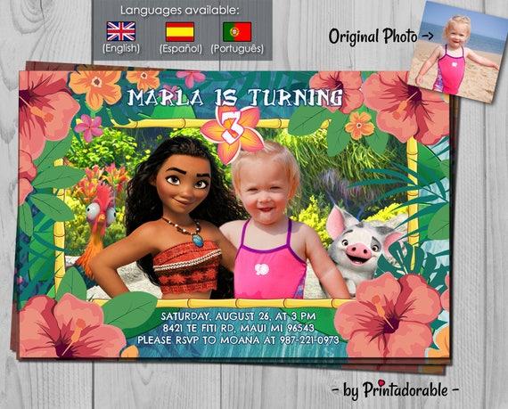 Moana Invitation Vaiana Invitation With Hei Hei And Pua Etsy