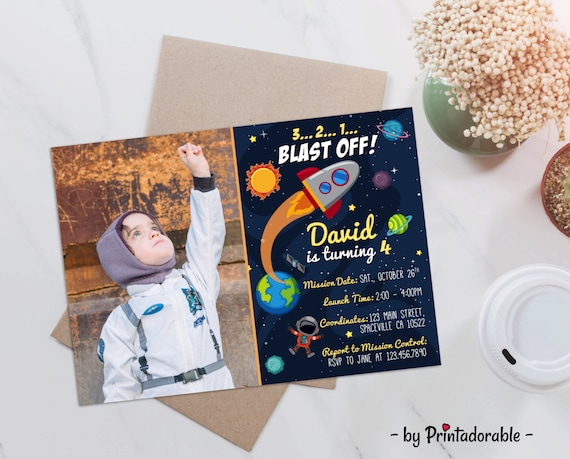 Space Invite, Astronaut Invite, Space Invitation, Astronaut Invitation, Rocket Invite, Space Rocket Invite, Planets Invite, Space Party