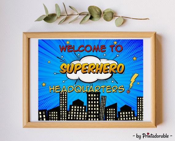 Welcome to Superhero Headquarters, Superhero Sign, Superhero Bedroom, Superhero Poster, Superhero Door Sign, Superhero HQ Sign