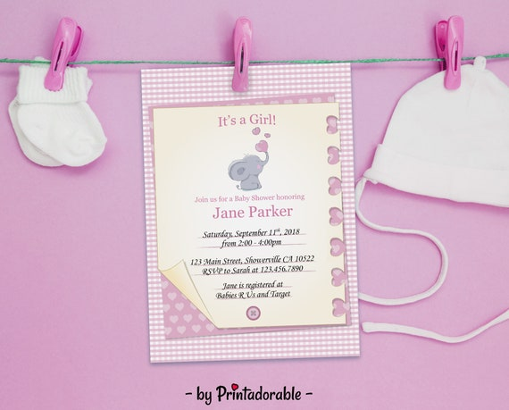 Girl Baby Shower, Baby Shower Invite, Elephant Baby Shower, Elephant Invite, It's a Girl Invite, Girl Invitation, Baby Girl Invite